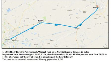 Current route of the X1 bus from Peterborough to King's Lynn