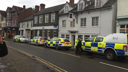 Police at scene of robbery at TSB bank in Dunmow High Street. Photo: Tammy Alice Howard