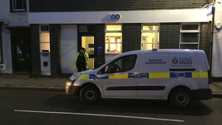 Scene outside TSB in Dunmow High Street, which was robbed on February 2, 2017. Photo: Michael Stewar
