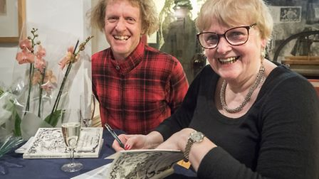 Grayson Perry with Janet Dyson as Janet signs books. Photos: Celia Bartlett Photography