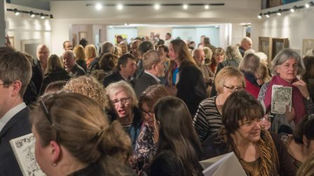 The crowds of guests, supporters and visitors at the book launch at Braintree Museum.