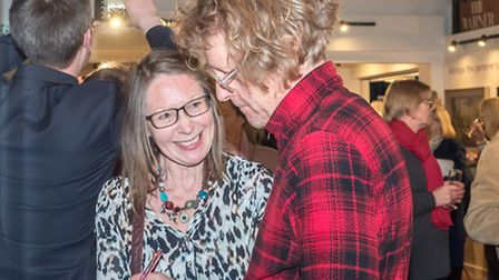 Grayson Perry also signs the books for guests at Janet Dyson's book launch