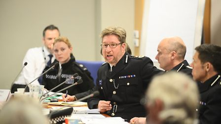 Chief Constable Simon Bailey speaking at the Police accountability forum at the Council Offices in K