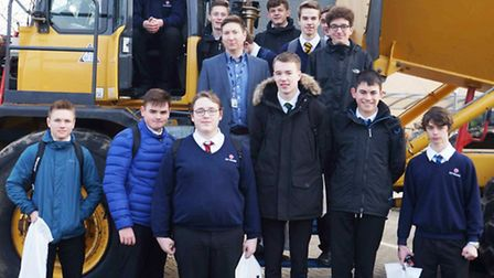 Ely College students with teacher David Mackintosh at CRC construction careers day