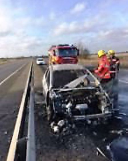Crews from Littleport and Ely were called to a road traffic collision after a car left the road and