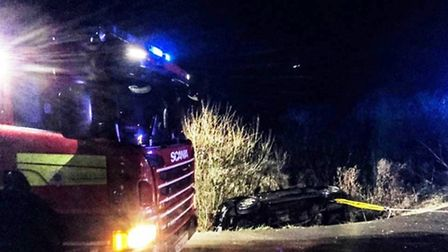 Car crashes into ditch on Reach Drove, Whittlesey.