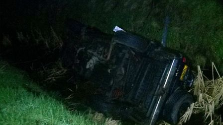 A car skidded off the road and into a water-filled ditch in Isleham on Wednesday (1).