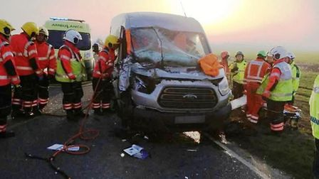 One person had to be freed from their van after a collision with a lorry on the A141 at Doddington l