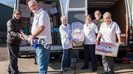Volunteers with Felsted Aid loading up the vans. Philip James, Alan Hillier, Avril Bantock, Angela P