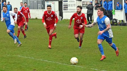 Barking on the attack against Takeley. Picture by Terry Gilbert