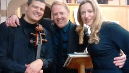 Cellist Pavlos Carvalho, pianist Warren Mailley-Smith and soprano Susan Parkes at the Valentine's Co