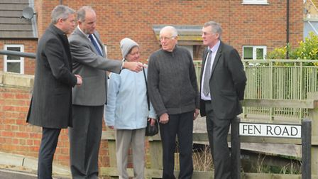 Cllr Will Sutton (far right) about and about during election time. He is seen with Steve Barclay MP,