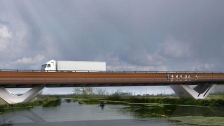 Ely Bypass. River bridge visualisation from north with walkway.