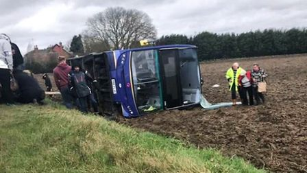 A double decker bus was blown over in Walton Highway today (February 23) leaving 11 people injured.