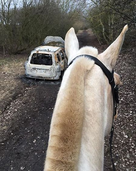 A March woman who came across a burnt out car when she was riding her horse at the weekend says it c