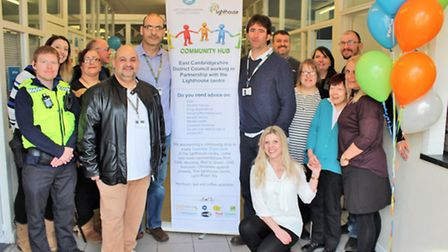 Visitors, volunteers and agency representatives at the launch of Ely's community hub in The Lighthou