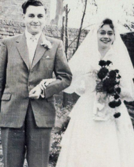 Ron and Gloria Moore on their wedding day. They married on the Queen's coronation day at Saffron Wal