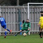 George Wappett scores for Takeley against Southend Manor