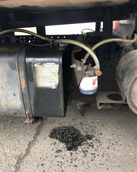 Matt Parfett's truck that Les Crofts worked on - the diesel tank is damaged and an outlet pipe crack