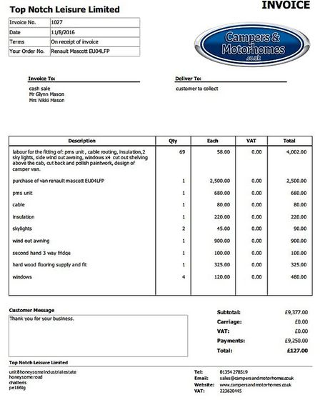 Invoice to Mr and Mrs Mason, a disabled couple who paid more than £9,000 to Les Crofts for a camper