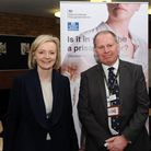 Liz Truss with Will Styles, governor, at visit to HMP Whitemoor. She spent time talking with Mr Styl