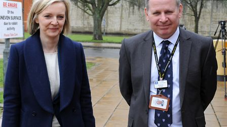 Liz Truss with Will Styles, governor, during her visit to HMP Whitemoor in March on Friday (March 3