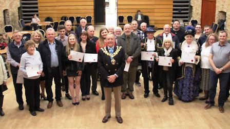 Ely mayor, Cllr Ian Lindsay, assisted by the Avril Hayter Smith, the Town Crier presented certifica