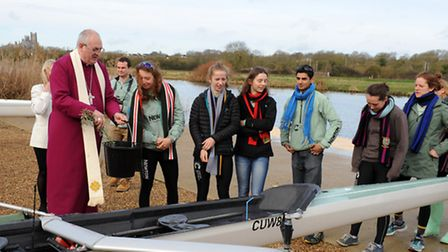 The Bishop of Ely, the Rt Revd Stephen Conway, blessed a Hudson eight boat in honour of AnnCatherine