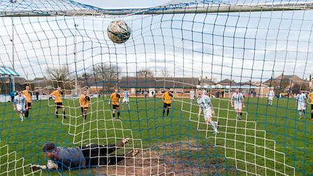 James Harness smashes home his extra-time penalty in Chatteris Town Reserves 4-2 victory over March