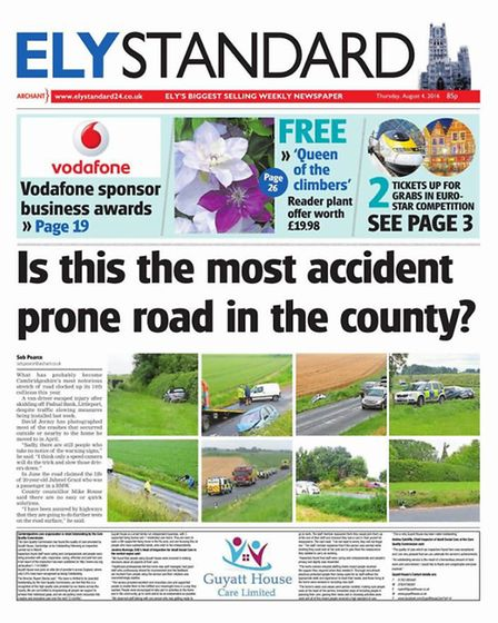The Ely Standard's coverage on dozens of crashes on Branch Bank, Littleport, has prompted Cambridges