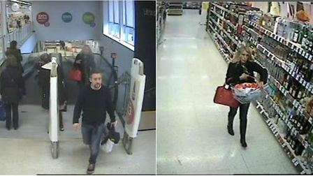 Police have released CCTV images of a man and a woman they want to speak to in connection with the t