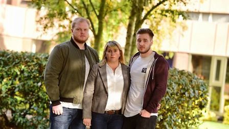 Nicola Urquhart, mother of Corrie McKeague, with her sons Darroch and Mackeyan McKeague. Picture: SA