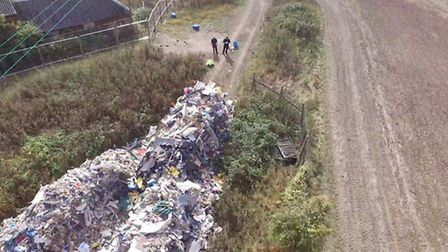 Fly tip in Witham dealt with by Braintree District Council which had around 64 tonnes of waste. Phot