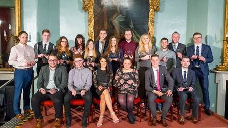 Group photo of winners at the College of West Anglia Apprenticeship Awards