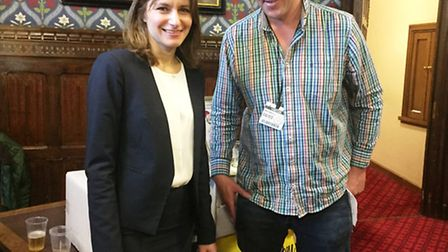 SE Cambs MP Lucy Frazer and Jonny Fuller of Spinney Abbey Farm in Wicken at the food and drink event