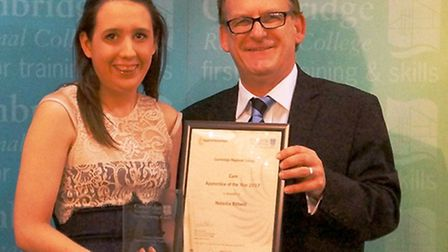 Natasha Bidwell, Care Apprentice of the Year at Cambridge Regional College, receiving her award from
