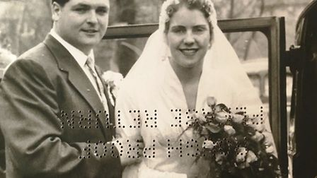 John and Audrey Parsler pictured on their wedding day at St Francis' church in Petts Wood in Kent on