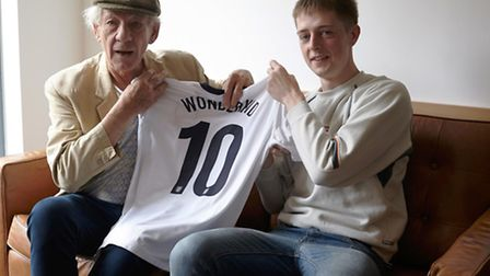 Sir Ian McKellen and Rhys Chapman before the launch of WONDERKID in 2014. The actor provided a voice