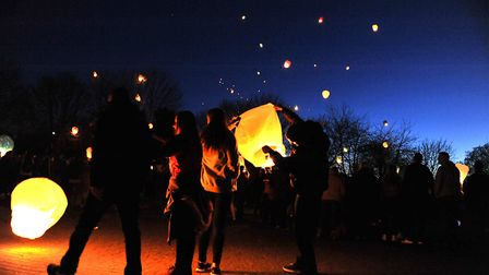 Balloons and lanterns are released in memory of Neale Wade Academy student Joshua Warby, 14, in West