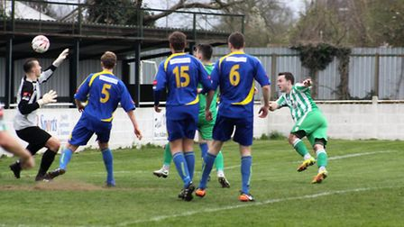 Mulready's well-taken volley followed a penalty as Soham overcame Thurrock 2-1 last Saturday. PHOTO: