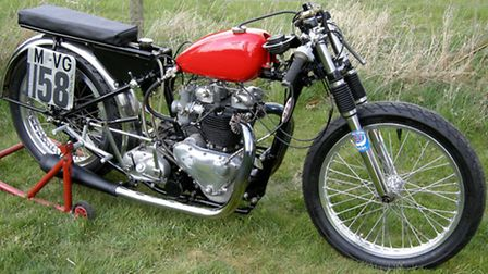 The 1951 Triumph 6T Thunderbird Bonneville. This bike is a national record holder in the 650 M-VG Cl