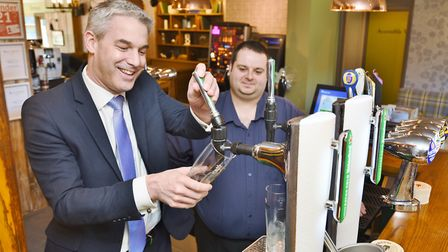 Official opening of the Railway pub at Station Road, Whittlesey. Steve Barclay MP is with licencee