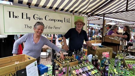 John and Heather Carruth at the Ely Gin Company's market stall. PHOTO: Ely Gin Company