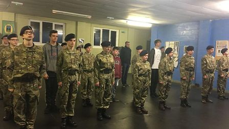 Army cadets from March held a minute's silence in memory of Joshua Warby and for those involved in t