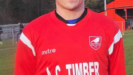 Sam Reed netted Ely City's second in their win over Wivenhoe Town. PHOTO: Ely City