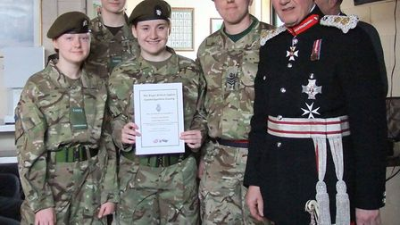 Lord Lieutenant Sir Hugh Duberly with members of the Chatteris Detachment Army Cadet Force, PHOTO: C