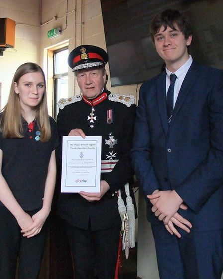Lord Lieutenant Sir Hugh Duberly with students from Cromwell Community College. PHOTO: Chatteris Roy