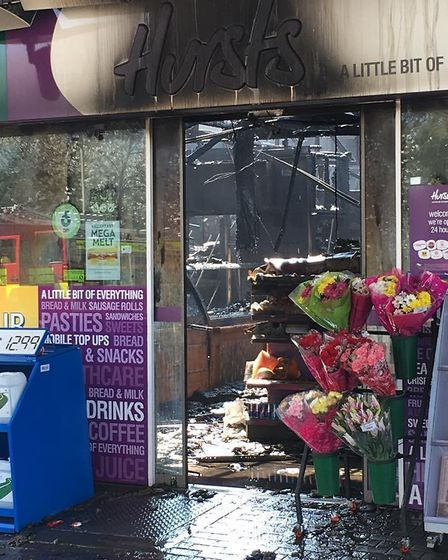 The fire at the Esso services at Fiveways, Barton Mills. The blaze broke out after an electrical fau