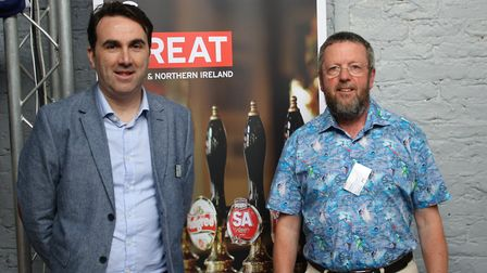 for International Trade adviser Joe Richart and Cliff Roberts from the Downham Isle Brewery.