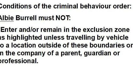 Terms and conditions of criminal behaviour order made against Albie Burrell of Whittlesey